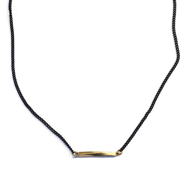Small Twist Bar Necklace Brass