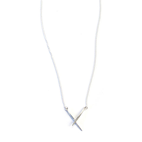 Crossed Twist Spike Necklace Sterling