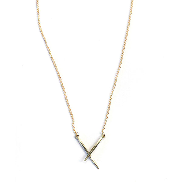 Crossed Twist Spike Necklace Gold