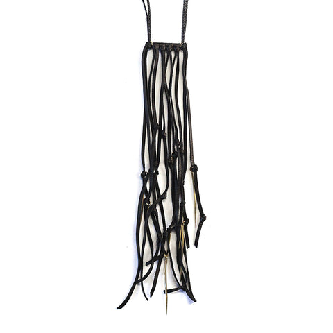 Twist Spike Leather Fringe Necklace Brass