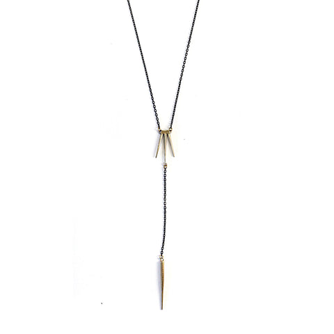 Quill Burst Y Necklace W Spike Drop Brass