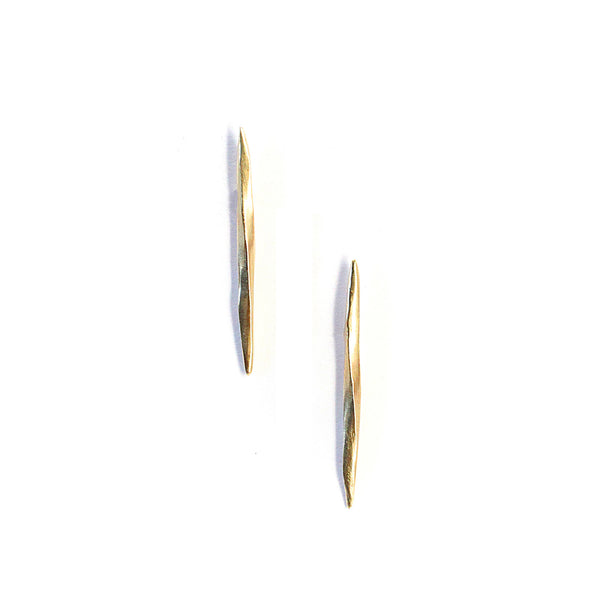 Long Twist Spike Studs Gold