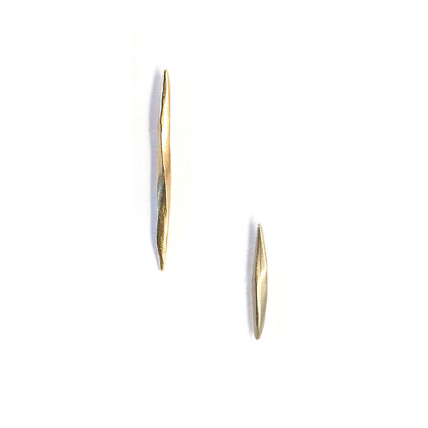Asymmetrical Twist Spike Studs Gold