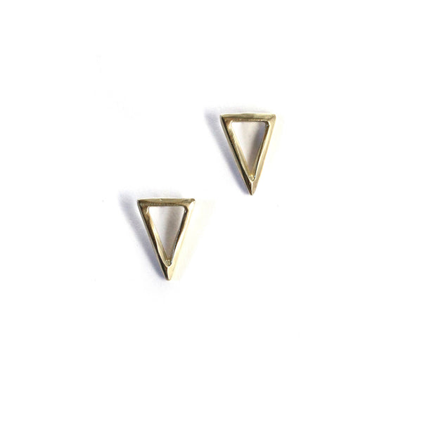 Triangle Twist Studs Yellow Gold