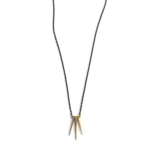 Single Small Quill Burst Pendant Brass