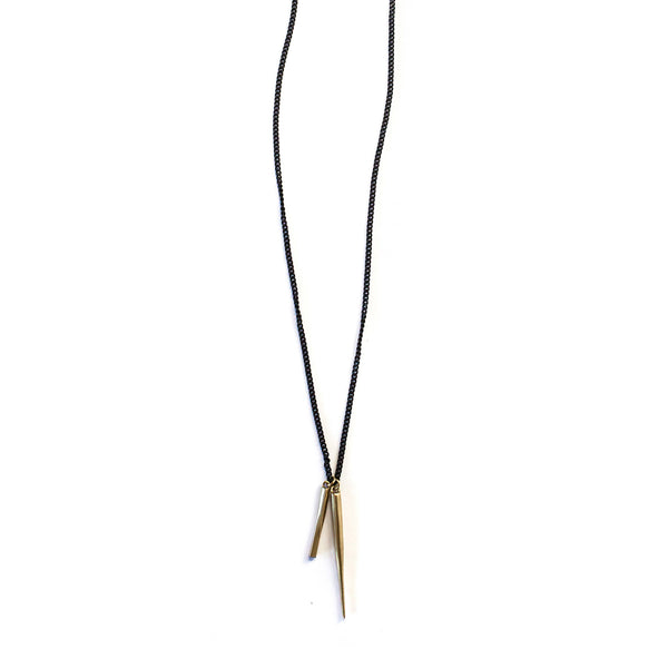 Twist Bar / Spike Charm Necklace Brass