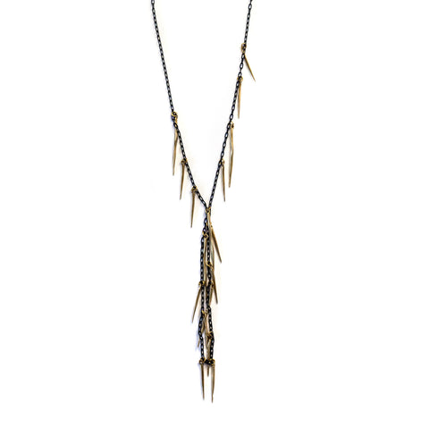 Cascade Twist Spike Necklace Brass