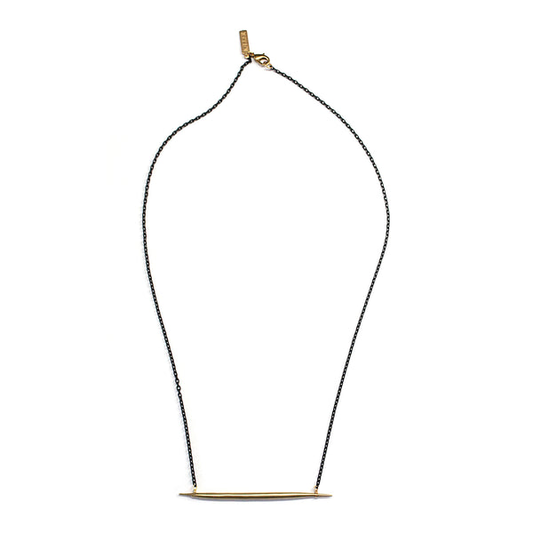 Petite Quill Lateral Necklace Brass