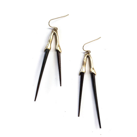 Double Bionic Quill Earrings Brass