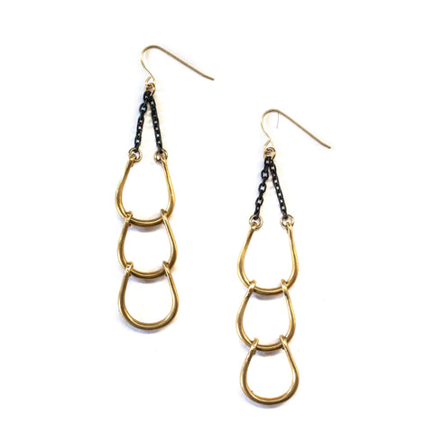 Cascade Horseshoe Earrings Brass