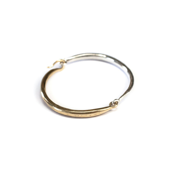 Hinged Bangle Brass / Sterling