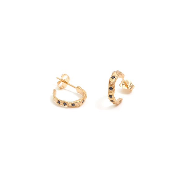 Stoned Thorned Hoops Yellow Gold W Black Diamonds
