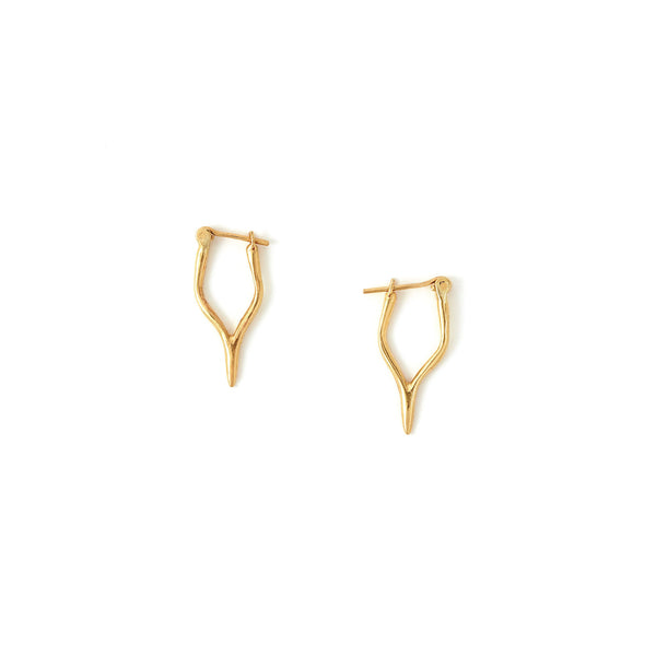 Petite Merging Quill Earrings Yellow Gold
