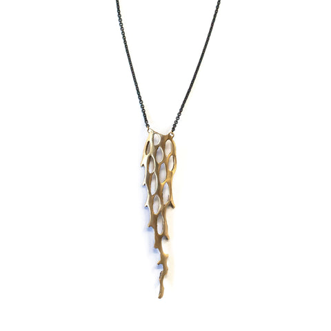 Chain Link Cactus Reversible Pendant Brass