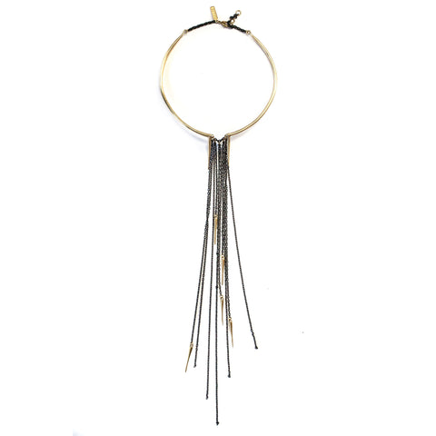 Spiked Curve Choker W Chain Fringe Brass