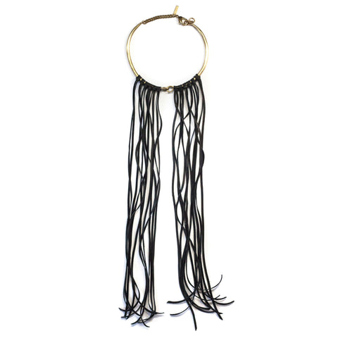 Hinged Choker Brass W Leather Fringe