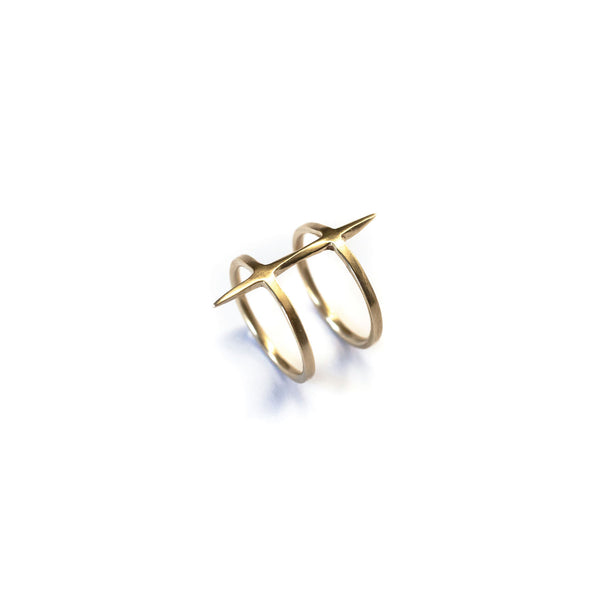 2 Band Twist Spike Ring Brass