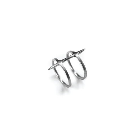 2 Band Twist Spike Ring Sterling