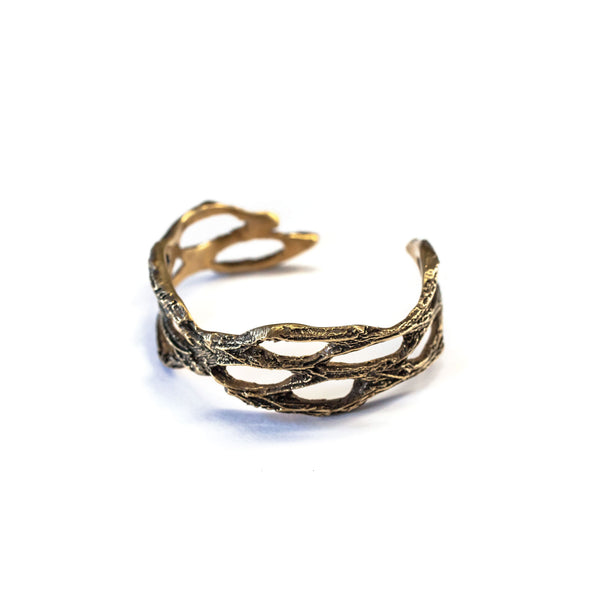 Small Chain Link Cactus Cuff Bracelet Brass