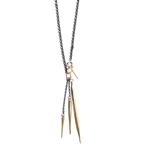 S Hook Quill/Spike Charm Necklace Brass