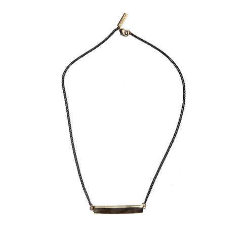 Reversible Pleat Lateral Necklace Brass