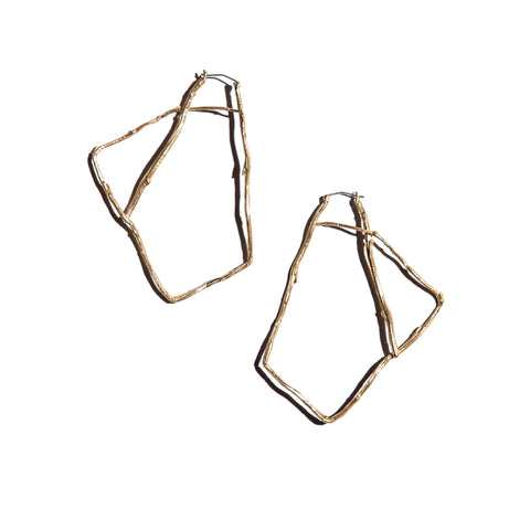 1/2 pair Willow Hoops Brass