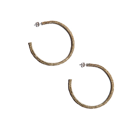 Cast Macramé Hoops Brass
