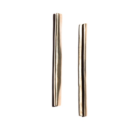 Large Pleat Earrings Brass