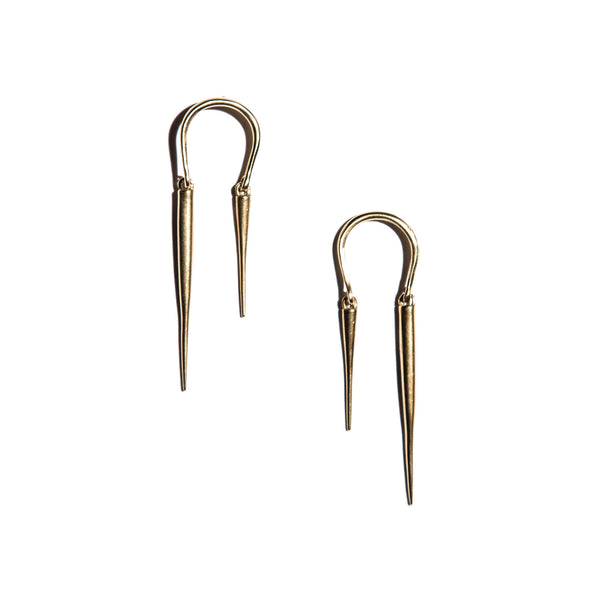 Reverse Horseshoe Earrings W Spike Drops Brass