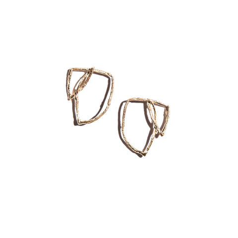 Large Willow Studs Brass