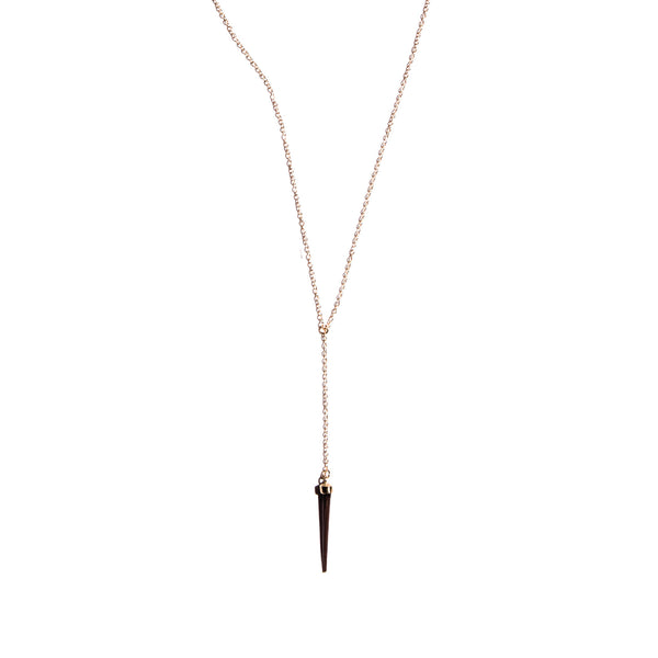 Petite Single Capped Quill Drop Pendant Yellow Gold