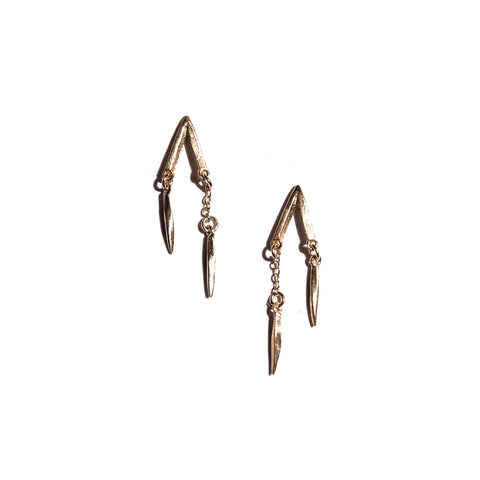 PETITE V SHORT DOUBLE DROP EARRINGS YELLOW GOLD