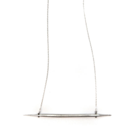 Lateral Sterling Quill Necklace