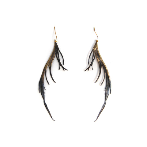 Half Blackened Feather Earrings