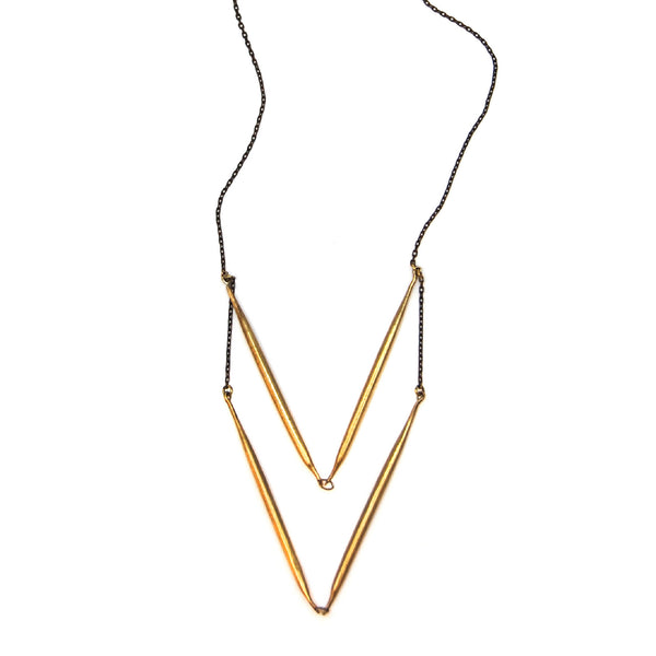 Double V Brass Quill Necklace