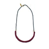 Bordeaux Leather Macramé Choker Brass