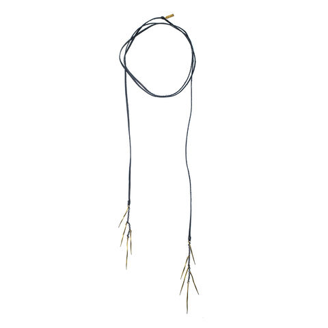 Black Leather Lariat With Twist Spike Fringe Brass