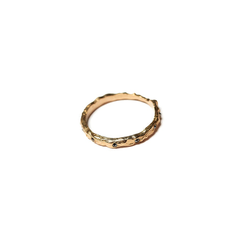 Thorned Ring W Black Diamonds Yellow Gold