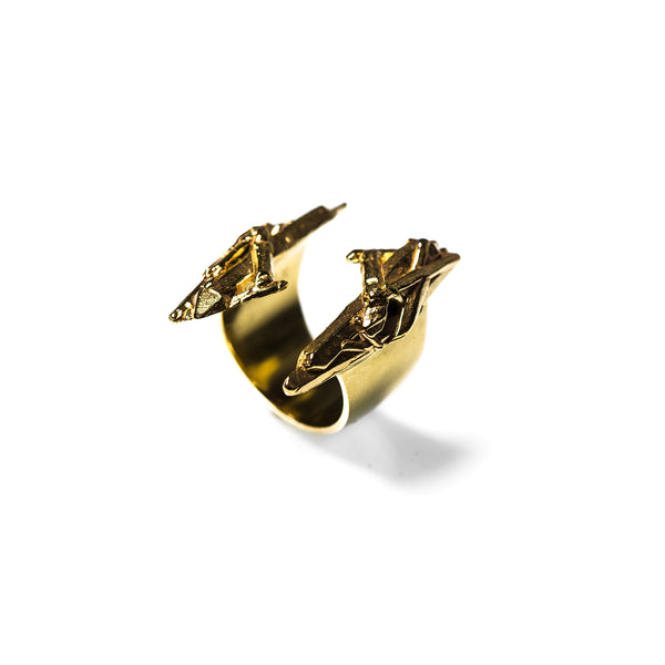 Cuarzo Cluster Ring Brass