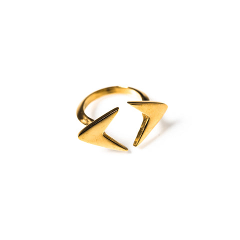 Double Arrow Ring Brass