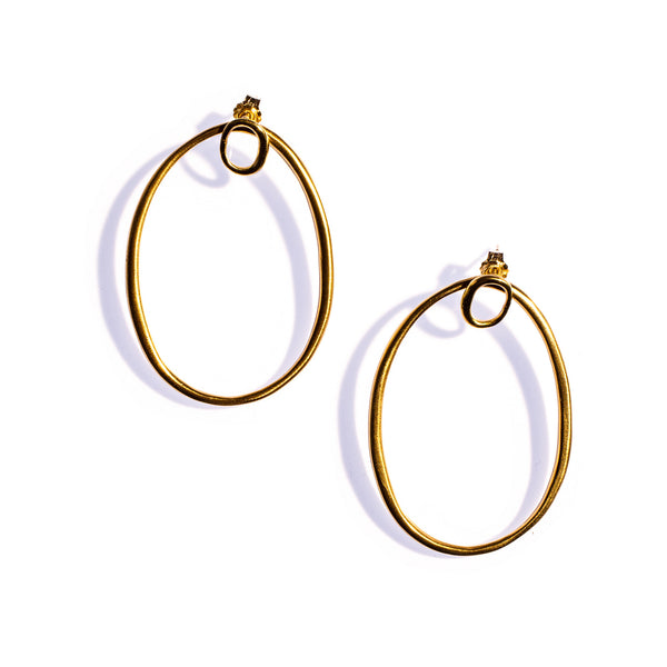 Double Ellipse Ear Jackets Brass