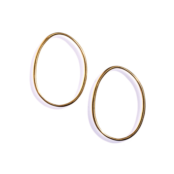 Large Ellipse Studs Brass