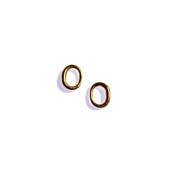 Small Ellipse Studs Brass