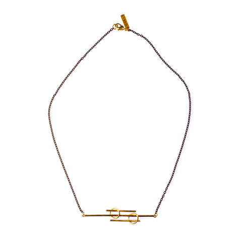 Lined Hina Lateral Necklace Brass