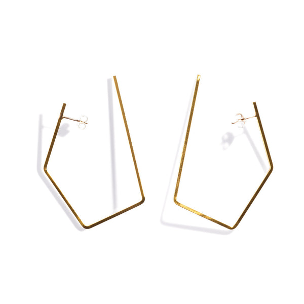 Medium Oblong Hoops Brass