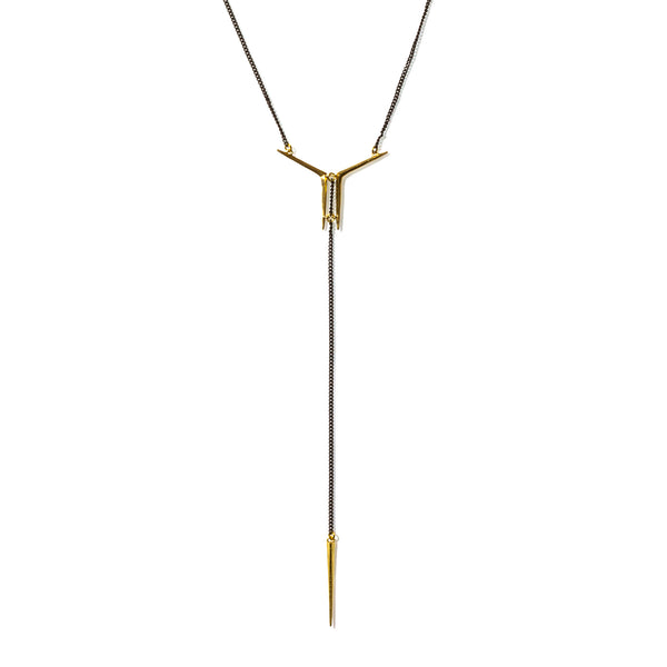 Small Mirrored Ray Y Necklace with Telson Drop Brass