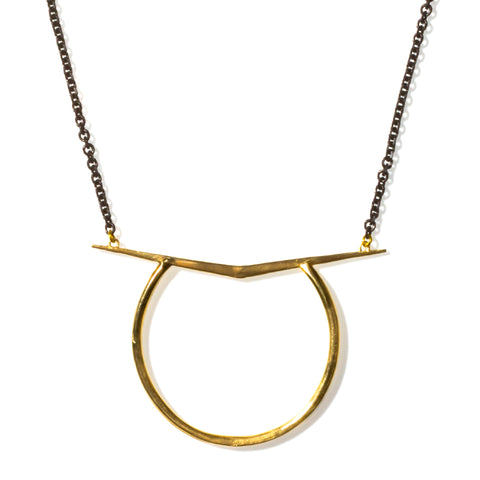 Ray Ring Pendant Short Brass