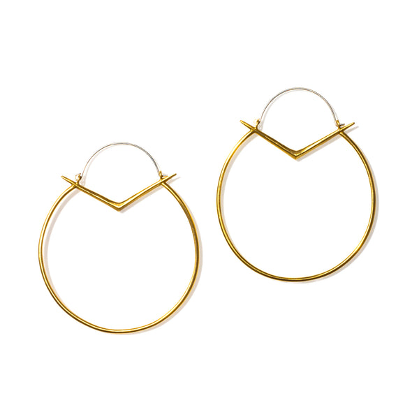 Large Ray Hoops Brass