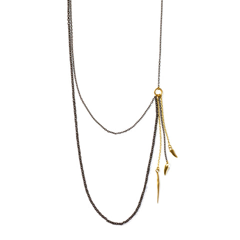 Asymmetrical Swag Charm Necklace on Shiny / Blackened Brass Chain