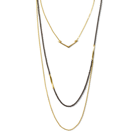 Layered Ray Necklace Brass